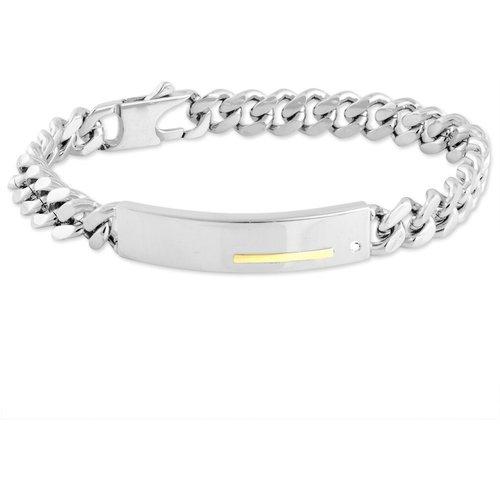 Bracelet Identité Adoline Or Acier Bicolore Diamant - Jourdan - Modalova