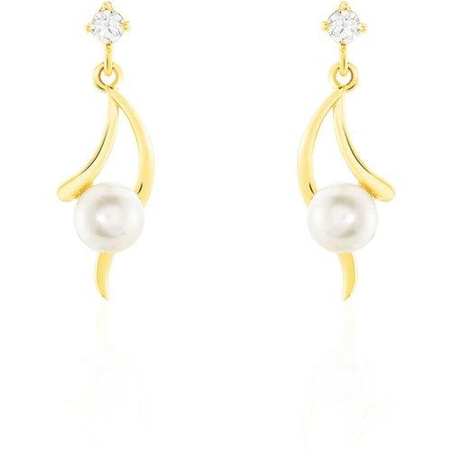 Boucles D'oreilles Pendantes Orientale Or Perle De Culture - Histoire d'Or - Modalova