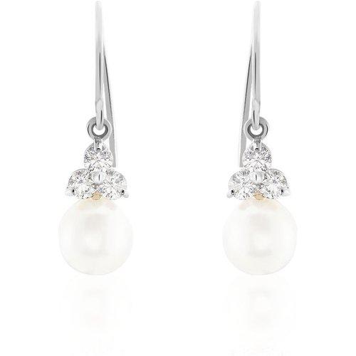 Boucles D'oreilles Pendantes Taissia Or Perle Culture Et Oxyde - Histoire d'Or - Modalova