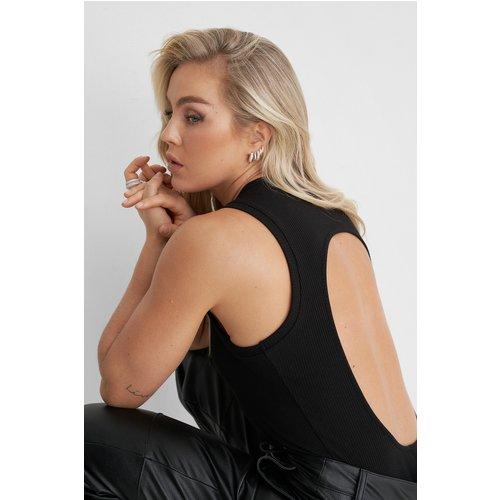 Haut Côtelé À Dos Ouvert - Black - Angelica Blick x NA-KD - Modalova