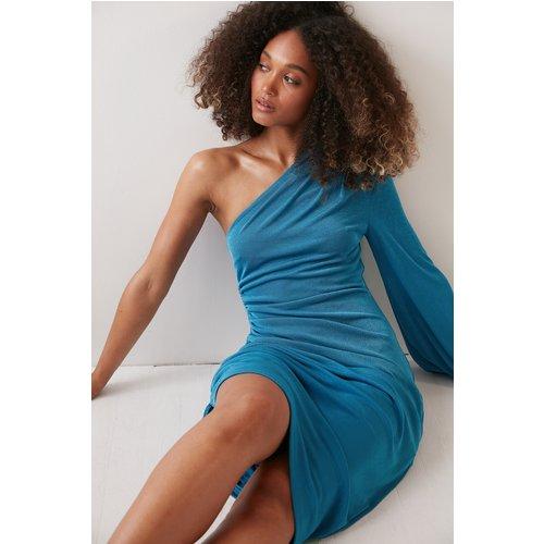 Design À Une Manche Robe Midi À Taille Froncée - Blue - Angelica Blick x NA-KD - Modalova