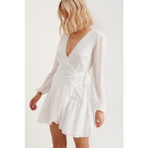 Recyclée Robe Portefeuille À Col En V - White - Anika Teller x NA-KD - Modalova