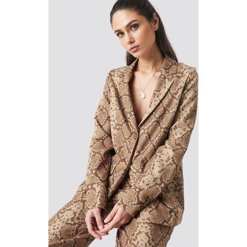 Buttoned Cuff Blazer - Brown - Anna Nooshin x NA-KD - Modalova