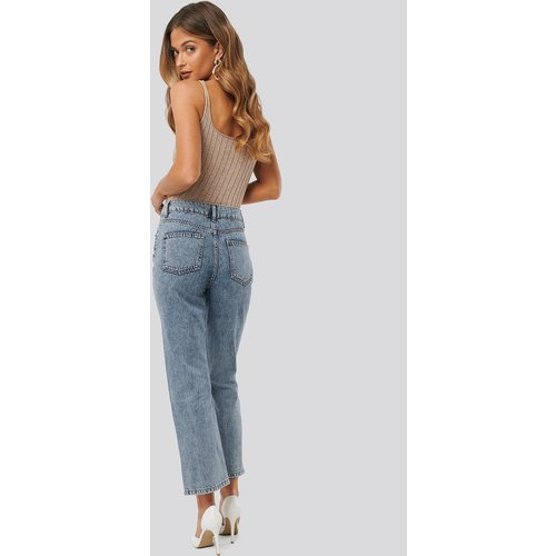 High Waist Straight Jeans - Blue - Anna Skura x NA-KD - Modalova
