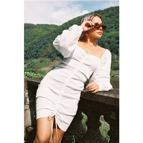 Robe Avec Cordon De Serrage - White - Buonalima x NA-KD - Modalova