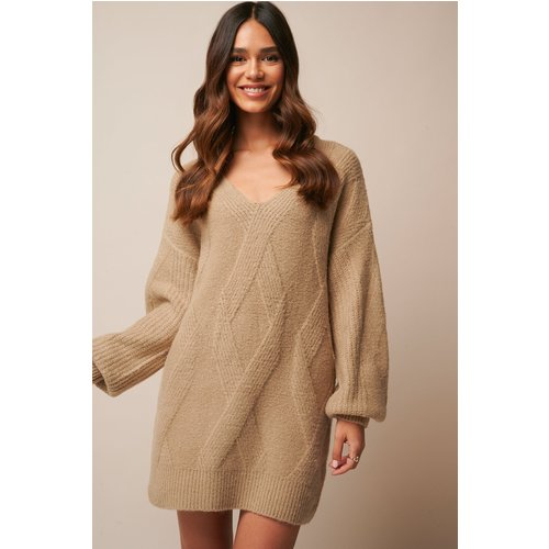 Braided Cable Knitted Dress - Beige - Donnaromina x NA-KD - Modalova