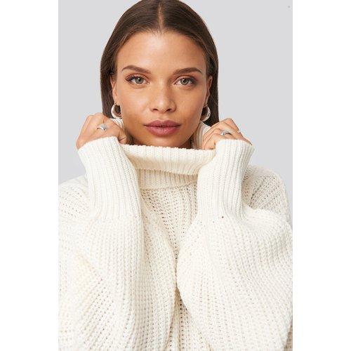 Ribbed Polo Cable Knit Sweater - White - Donnaromina x NA-KD - Modalova