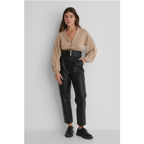 Pantalon Faux Cuir - Black - The Fashion Fraction x NA-KD - Modalova