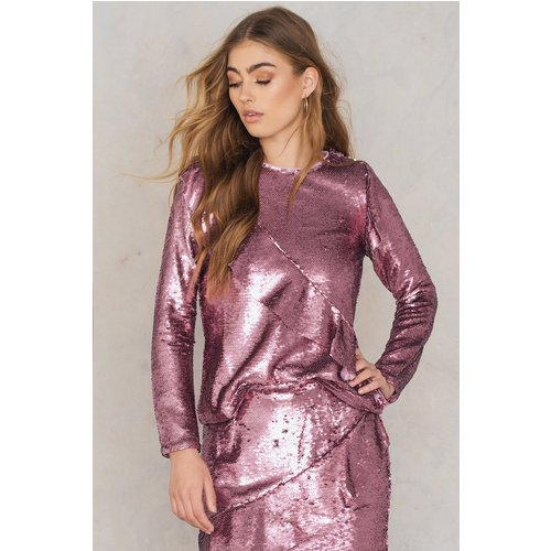 Glamorous Frill Sequin Top - Pink - Glamorous - Modalova
