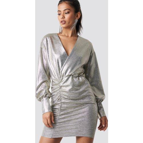 Draped Short Metallic Dress - Silver - Hannalicious x NA-KD - Modalova