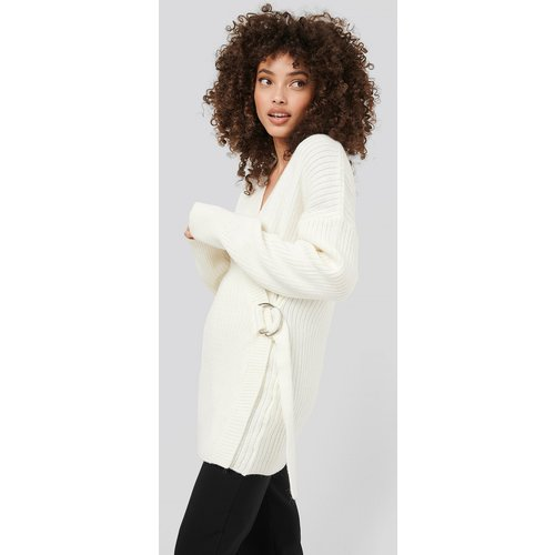 Ribbed Knitted Cardigan - White - Hanna-Martine x NA-KD - Modalova