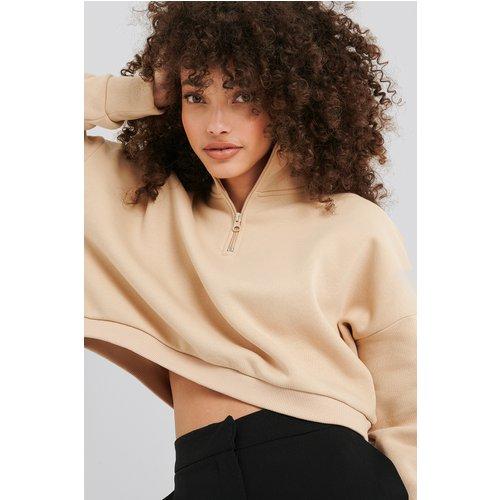 Zipper Jersey Sweater - Beige - Hanna-Martine x NA-KD - Modalova