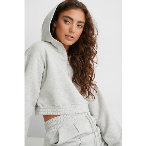 Sweatshirt Zippé - Grey - Jasmin Azizam x NA-KD - Modalova