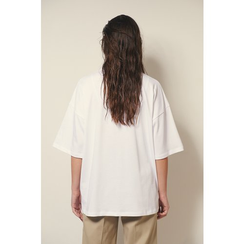 Biologique T-shirt Carré En Coton Épais - White - Josefine HJ x NA-KD - Modalova