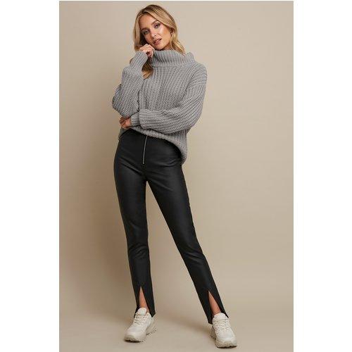 Front Slit PU Zipper Pants - Black - Linn Ahlborg x NA-KD - Modalova
