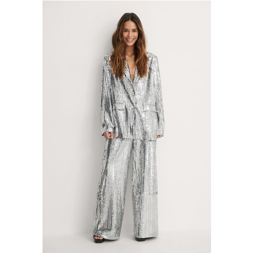 Pantalon Paillettes - Silver - Lizzy x NA-KD - Modalova