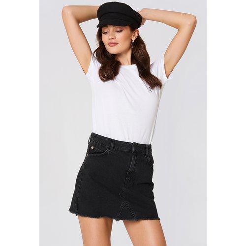 Frayed Edges Denim Skirt - Black - Mango - Modalova