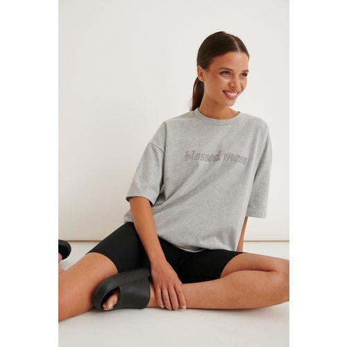 Biologique T-shirt Oversize En Coton Épais - Grey - Marije Zuurveld x NA-KD - Modalova
