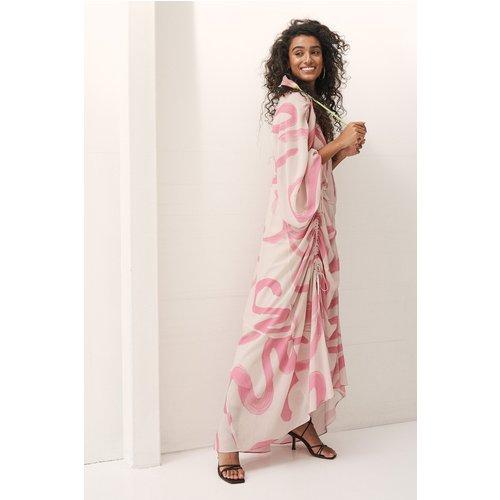 Robe Longue Avec Détails À Cordons Coulissants À L'avant Et De La En Mousseline De Soie - Multicolor - NA-KD ART - Modalova