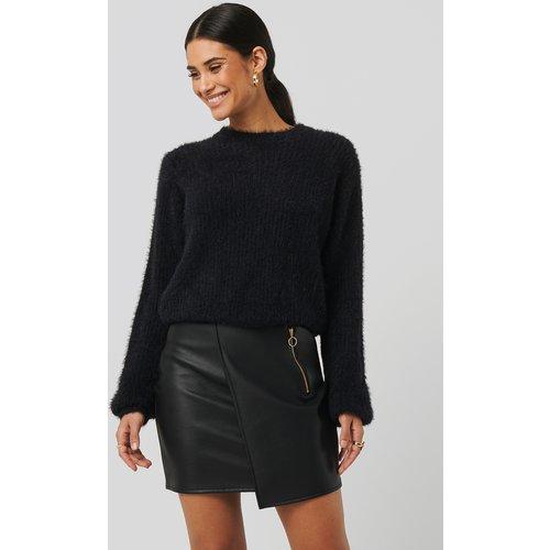 Asymmetric PU Zipper Skirt - Black - Sara Sieppi x NA-KD - Modalova