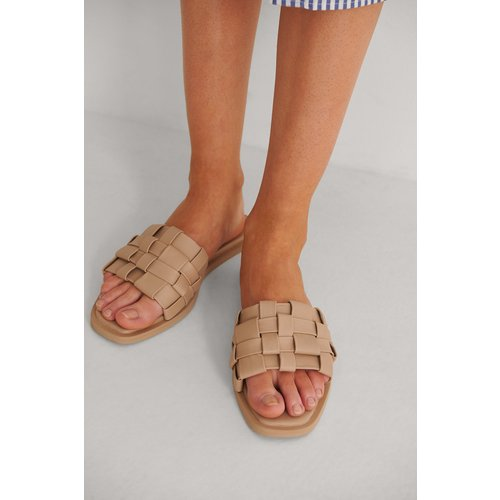 Chaussons En Cuir Tressé - Beige - NA-KD Shoes - Modalova