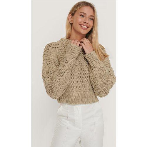 Bubble Sleeve Knitted Sweater - Beige - Misslisibell x NA-KD - Modalova