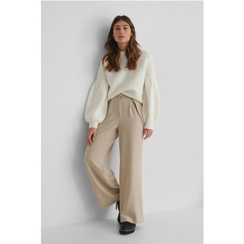 Pantalon De Costume Taille Haute - Beige - The Fashion Fraction x NA-KD - Modalova