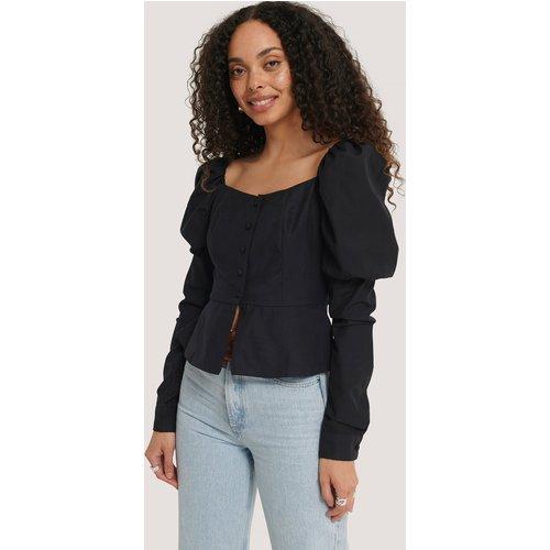 Buttoned Puff Sleeve Blouse - Black - NA-KD Boho - Modalova