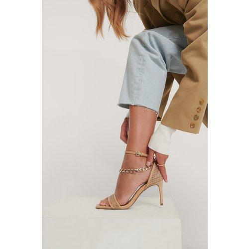 Talons En Maille À Détail De Chaîne - Beige - NA-KD Shoes - Modalova