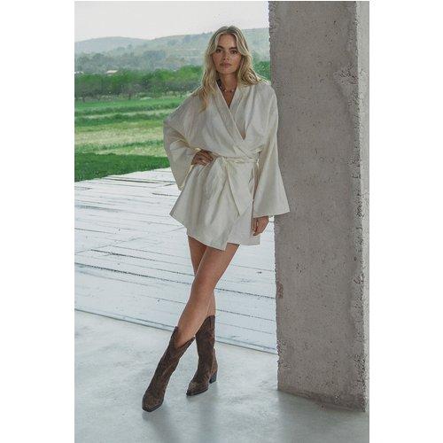 Robe Mini En Lin Mélangé - White - Claire Rose x NA-KD - Modalova