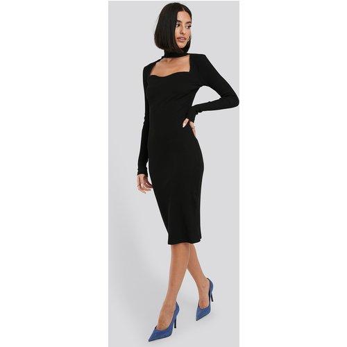 Cut Out Turtle Neck Ribbed Midi Dress - Black - NA-KD Trend - Modalova