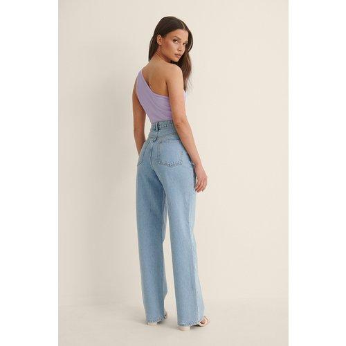 Taille Haute Jean Jambe Droite - Blue - Anna Briand x NA-KD - Modalova