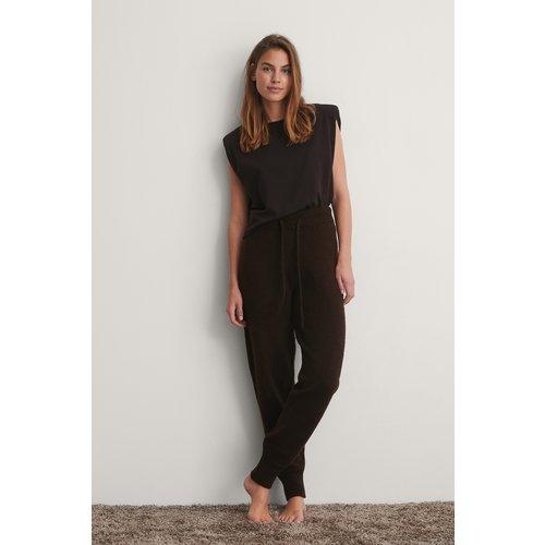 Pantalon De Survêtement Taille Haute En Maille - Brown - NA-KD - Modalova