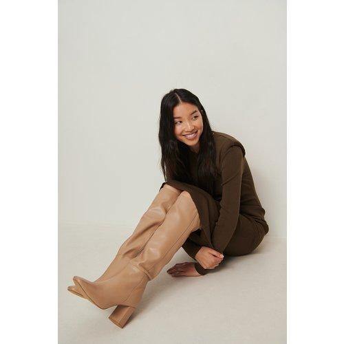 Bottes hautes en cuir - Beige - NA-KD Shoes - Modalova