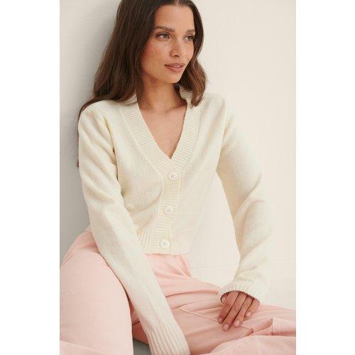 Cardigan En Tricot Léger - White - Anna Briand x NA-KD - Modalova