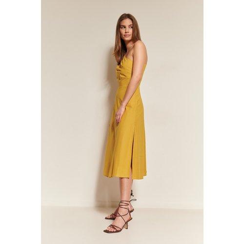 Mélange De Lin Robe Dos Plongeant - Yellow - NA-KD Trend - Modalova