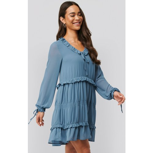 Multi Frill Flowy Mini Dress - Blue - NA-KD Boho - Modalova