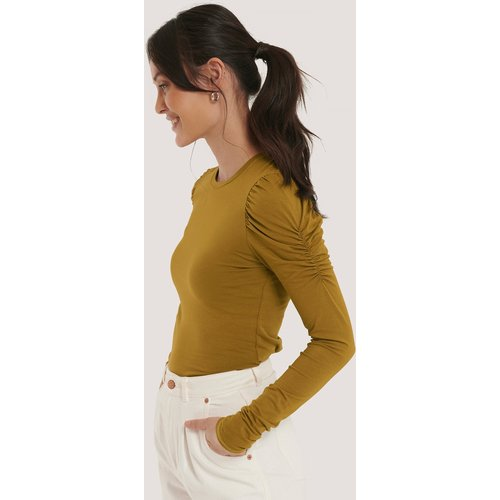 Puff Long Sleeve Jersey Top - Green - NA-KD Trend - Modalova