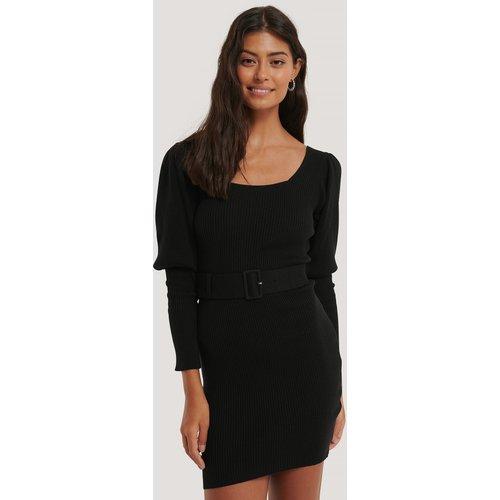 Puff Sleeve Knitted Dress - Black - Misslisibell x NA-KD - Modalova