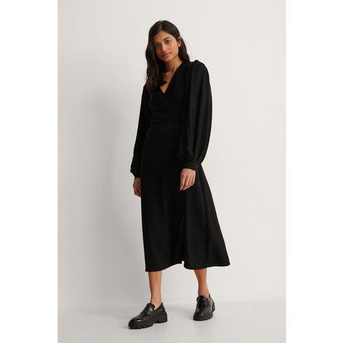 Robe Portefeuille À Manches Bouffantes - Black - NA-KD Trend - Modalova