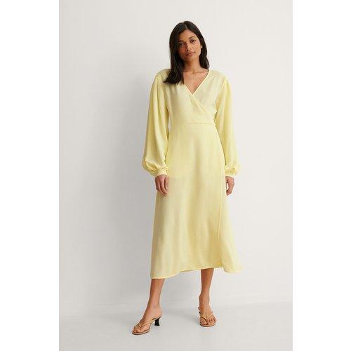 Robe Portefeuille À Manches Bouffantes - Yellow - NA-KD Trend - Modalova
