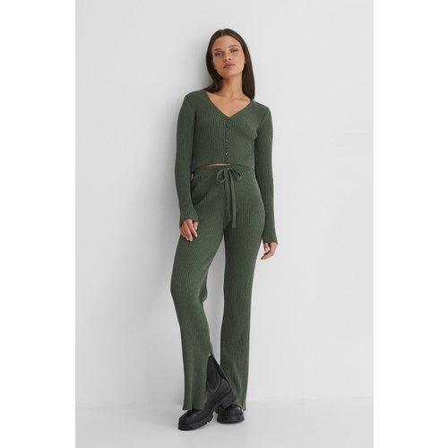 Recyclé Pantalon En Jersey Côtelé - Green - Emilie Malou x NA-KD - Modalova