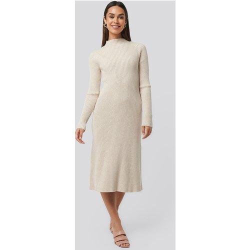 Ribbed Knitted Polo Dress - Beige - NA-KD Trend - Modalova