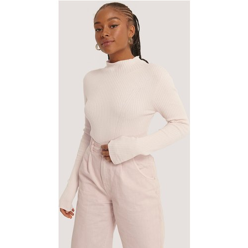 Ribbed Polo Neck Sweater - Pink - NA-KD Trend - Modalova
