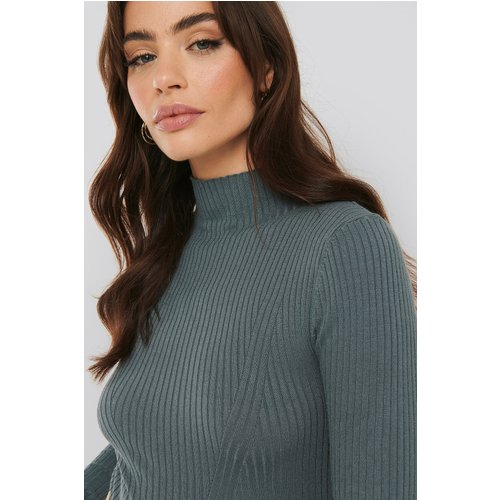 Ribbed Polo Neck Sweater - Blue - NA-KD Trend - Modalova