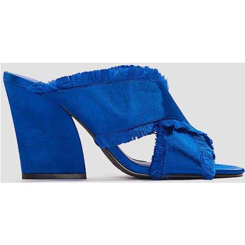 Satin Cross Mule Heels - Blue - NA-KD Shoes - Modalova