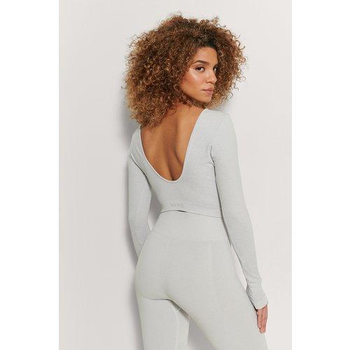 Recyclé Haut Mélangé À Dos Ouvert Sans Couture - Grey - NA-KD Flow - Modalova