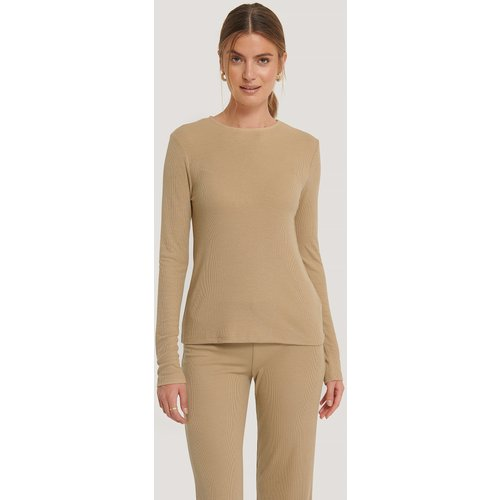 Soft Ribbed Roundneck Long Sleeve - Beige - NA-KD Basic - Modalova