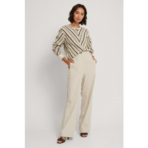 Pantalon Jambe Large Et Taille Haute - Beige - NA-KD Trend - Modalova