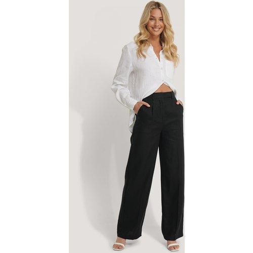 Pantalon Large En Lin - Black - NA-KD Classic - Modalova